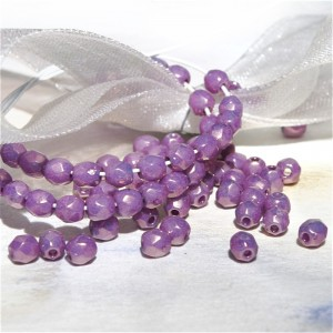 aque Czech fire polished with golden light purple coating CRYSTAL VEGA, 3 mm, 60 pcs
