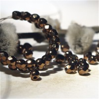 Czech fire polished beads, black with golden coating, 3 mm, 60 pcs.