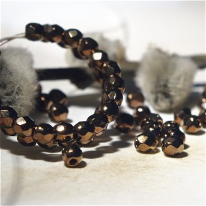 Czech fire polished black beads, 3 mm, 60 pcs.