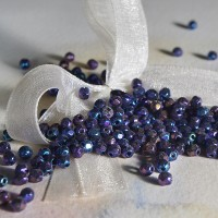 Czech fire polished beads, JET IRIS, 3 mm, 60 pcs.