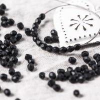 Czech fire polished beads, black matt, 3 mm, 60 pcs.