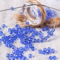 Czech fire polished beads, blue, 3 mm, 60 pcs.
