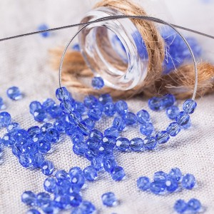Czech fire polished blue beads, 3 mm, 60 pcs.