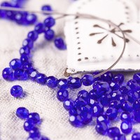 Czech fire polished beads, dark blue, 3 mm, 60 pcs.