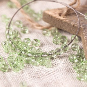Czech fire polished light peridot green beads, 3 mm, 60 pcs.