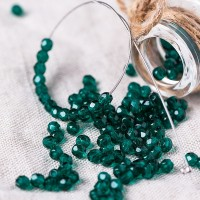 Czech fire polished dark emerald green beads, 3 mm, 60 pcs.