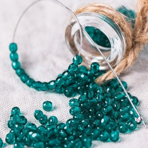 Czech fire polished dark teal beads, 3 mm, 60 pcs.