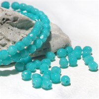 Czech fire polished beads, opaque mint green, 3 mm, 60 pcs