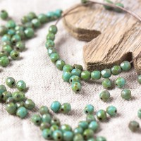 Czech fire polished beads, opaque mint with picasso coating, 3 mm, 60 pcs.