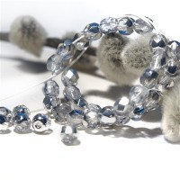 Czech fire polished beads with silver coating, 4 mm, 60 pcs.
