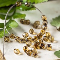Czech fire polished beads, picasso clear, 4 mm, 60 pcs.