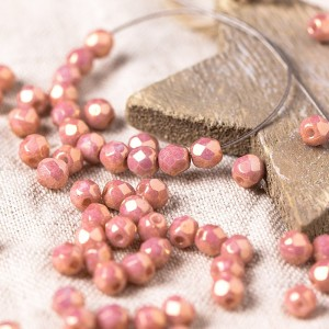 Czech fire polished opaque beads with pink coating, 4 mm, 60 pcs.