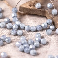Czech fire polished opaque beads with blue-silver coating, 4 mm, 60 pcs.