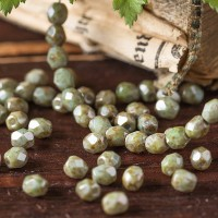 Czech fire polished opaque beads with gray-green coating, 4 mm, 60 pcs.