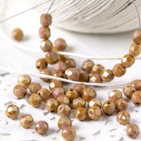 Czech fire polished opaque beads with brown-golden coating, 4 mm, 60 pcs.