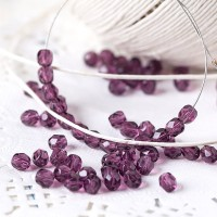 Czech fire polished dark purple beads, 4 mm, 60 pcs.