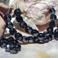 Czech fire polished black hematite beads, 4mm, 60 pcs.