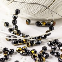 Czech fire polished beads black with golden coating, 4 mm, 60 pcs.