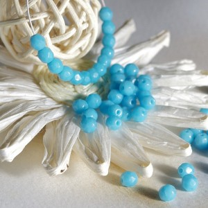Czech fire polished opaque sky blue beads, 4 mm, 60 pcs.