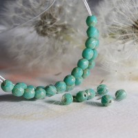 Czech fire polished beads, mint green with picasso coating, 4mm, 60 pcs.