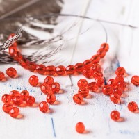Czech fire polished beads, siam red, 4 mm, 60 pcs.