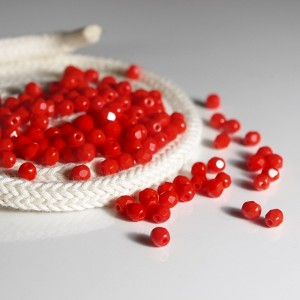 Czech fire polished opaque scarlet red beads, 4 mm, 60 pcs.
