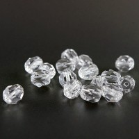 Czech fire polished crystal transparent beads, 6 mm, 40 pcs.