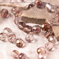 Czech fire polished crystal beads with golden pink coating, 6 mm, 40 pcs.