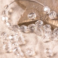 Czech fire polished beads, clear with light silver coating, 6 mm, 40 pcs.