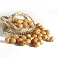 Czech fire polished opaque dark beige beads, 6 mm, 40 pcs.