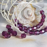 Czech fire polished purple beads, 6 mm, 40 pcs.