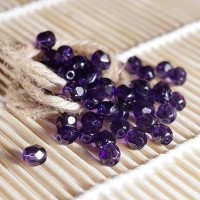 Czech fire polished dark purple beads, 6 mm, 40 pcs.