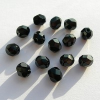 Czech fire polished black beads, 6 mm, 40 pcs.
