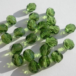 Czech fire polished olive green beads, 6 mm, 40 pcs.