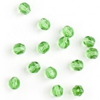 Czech fire polished light green beads, 6 mm, 40 pcs.