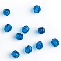 Czech fire polished capri blue beads, 6 mm, 40 pcs.