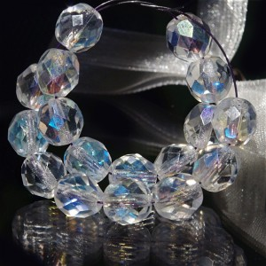 Czech fire polished crystal beads with AB coating, 8 mm, 10 pcs.