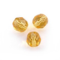 Czech fire polished caramel brown beads, 8 mm, 20 pcs.