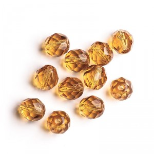 Czech fire polished topaz brown beads, 8 mm, 10 pcs.