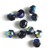 Czech fire polished opaque black beads with AB coating, 8 mm, 10 pcs.