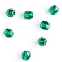 Czech fire polished emerald green beads, 8 mm, 10 pcs.