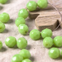 Czech fire polished opal light green beads, 8 mm, 20 pcs.