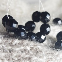 Glass Czech round black faceted beads JET, 10 mm, 10 pcs.