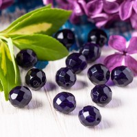 Czech fire polished dark purple beads, 10 mm, 10 pcs.