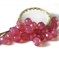 Czech fire polished opal pink beads, 10 mm, 10 pcs.