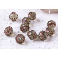 Czech glass beads fire polished smoked topaz turbine beads with picasso coating, 11 mm, 10 pcs.