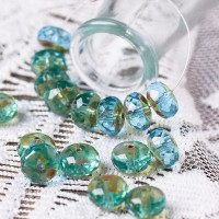 Czech glass beads fire polished rondelles, turquoise, 11mm, 20 pcs.