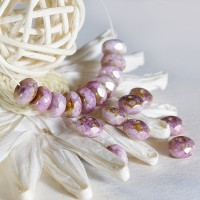 Czech fire polished faceted opaque purple beads rondelle, 6х7 mm, 40 pcs.