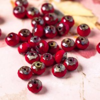 Czech glass beads fire polished gemstone opaque red donuts with picasso coating, 6х7 mm, 20 pcs.