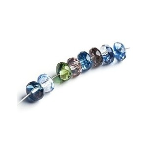 Czech glass beads fire polished mix donuts of blue and green shades, 7 mm, 20 pcs.